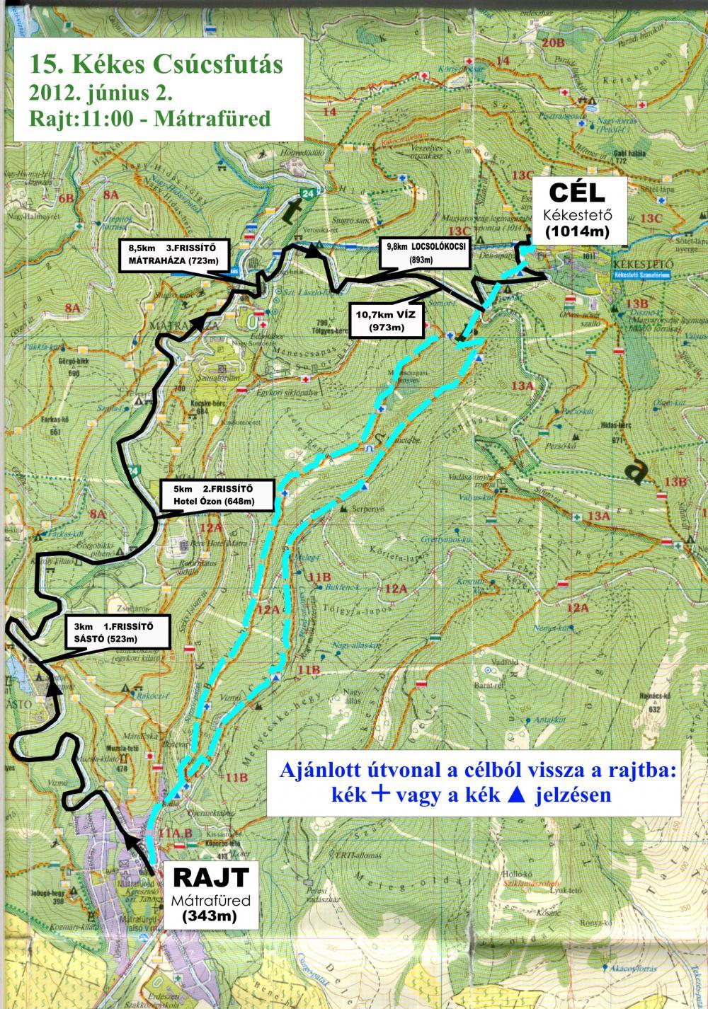 kékestető térkép 14. Kékes Csúcsfutás térkép   Futanet.hu kékestető térkép