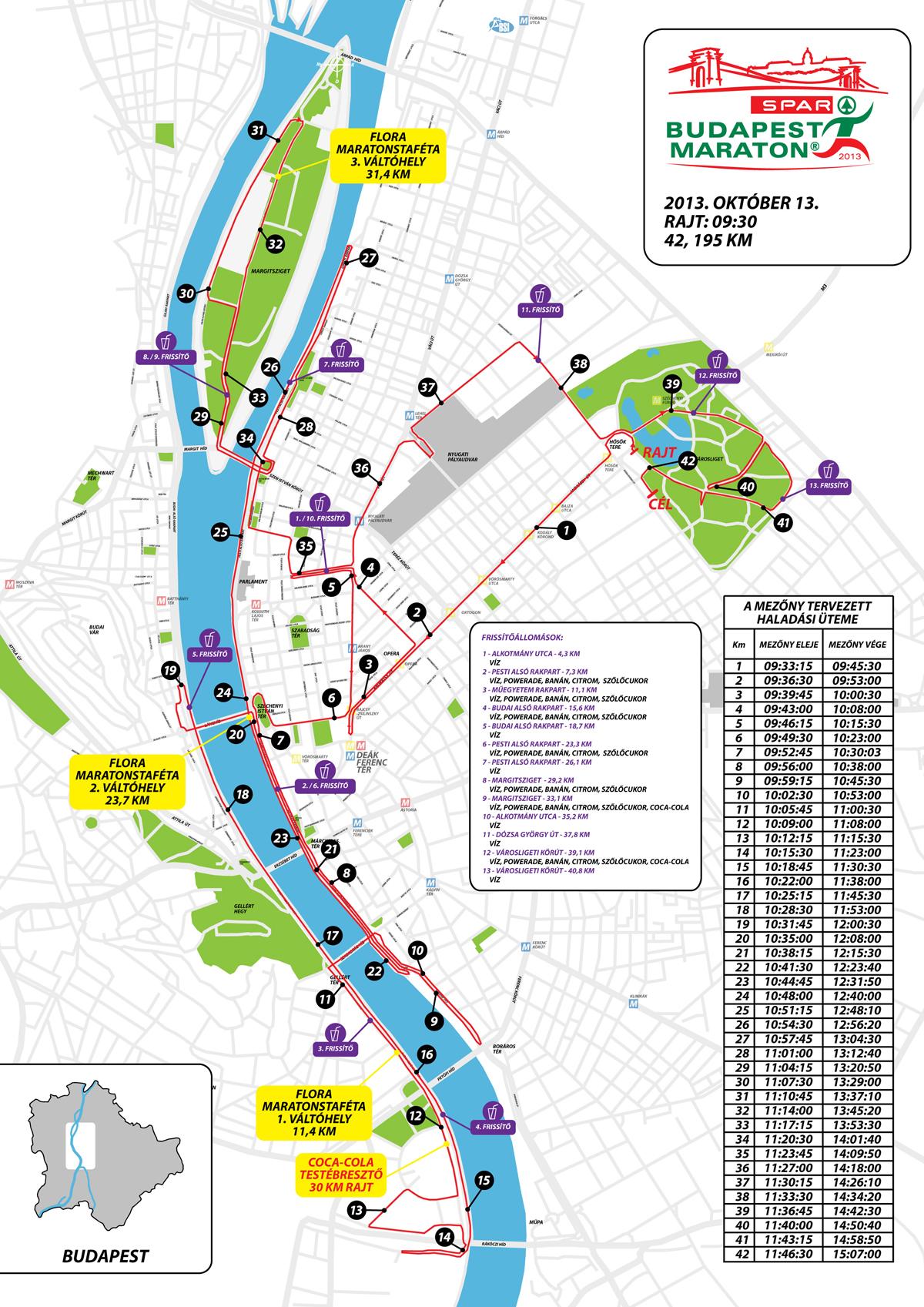 budapest útvonal térkép 28. Spar Budapest Maraton 2013 Térképek   Futanet.hu budapest útvonal térkép