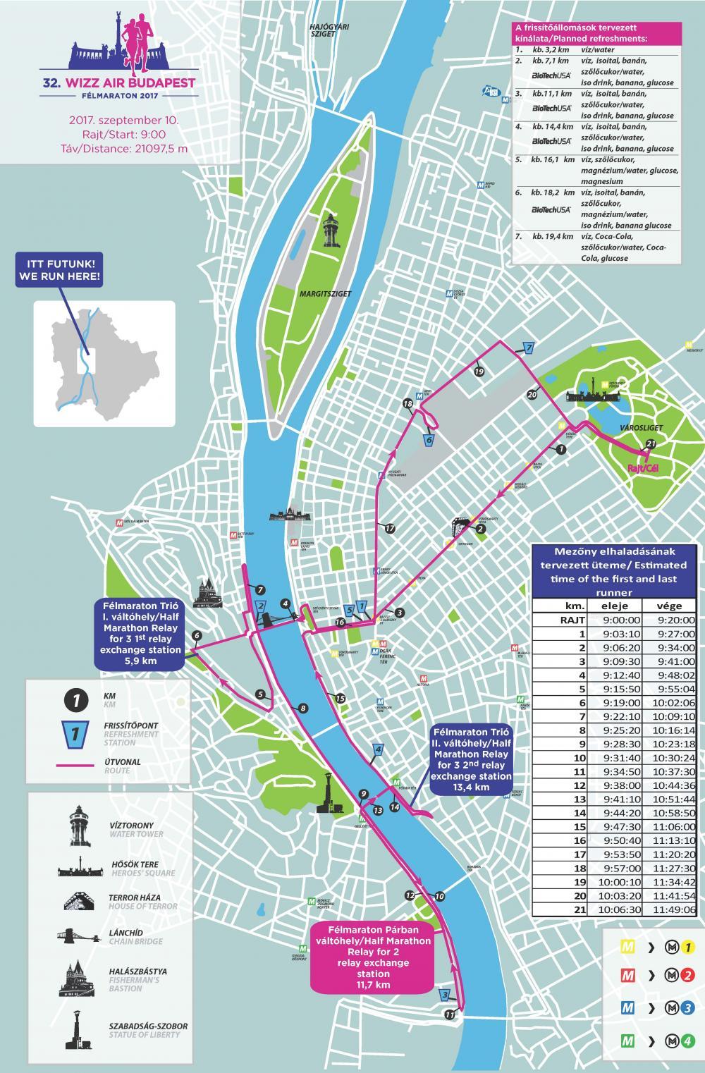 32. Wizz Air Budapest Félmaraton útvonaltérkép